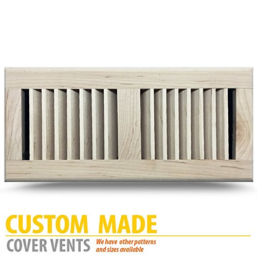 MAPLE Louvered Unfinished Wood Floor Register, 6x12Inch (Duct Opening Measurements), Damper NOT (Maple Louvered Register)