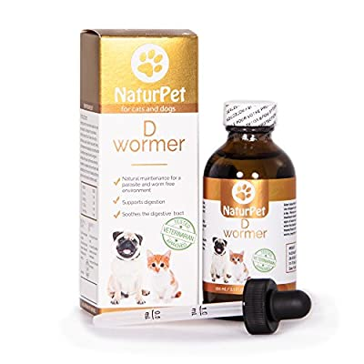 Naturpet D Wormer | 100% Natural, Safe, & Effective Dewormer for Dogs and Cats | 3.3 oz Liquid Herbal Dewormer | The Only Natural Pet Deworming medicine that soothes & heals the digestive tract from Natures Formulae Health Products Ltd. | NaturPet Inc.