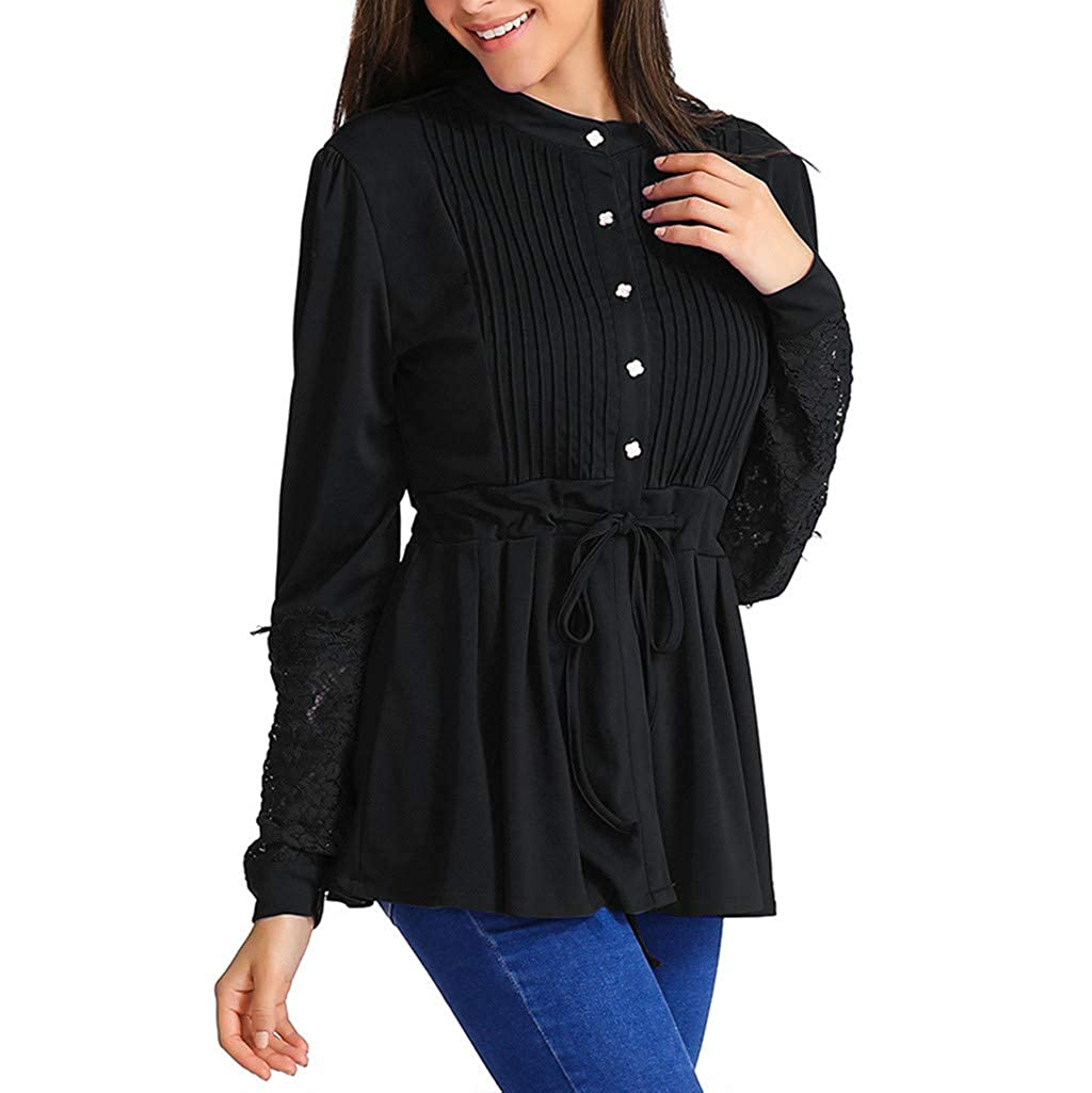 f0ce5c937d5261 Womens Casual Long Sleeve Lace Blouse Panel Crinkle Chest Bandage  Sweatshirt Shirt Tunic Top for Ladies Teen Girls at Amazon Women's Clothing  store:
