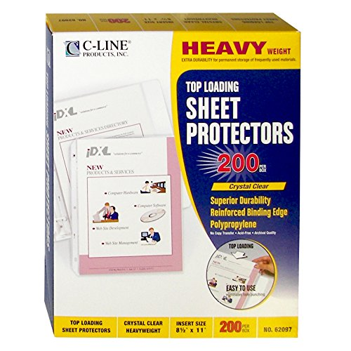 C-Line Top Loading Heavyweight Poly Sheet Protectors, Clear, 8.5 x 11 Inches, 200 per Box (62097)