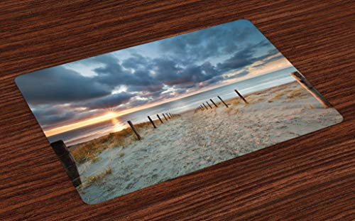 Lunarable Beach Place Mats Set of 4, Seaside Walking North Holland Netherland Sundown Romantic Sunlight Sunbeams, Washable Fabric Placemats for Dining Room Kitchen Table Decor, Bluegrey Beige Brown
