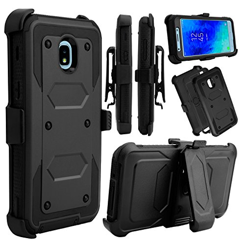 Galaxy J3 2018 Case, Galaxy J3 Orbit Case, Venoro Heavy Duty Shockproof Full Body Protection Rugged Hybrid Case Cover with Swivel Belt Clip and Kickstand for Samsung Galaxy J3 Achieve (Black)