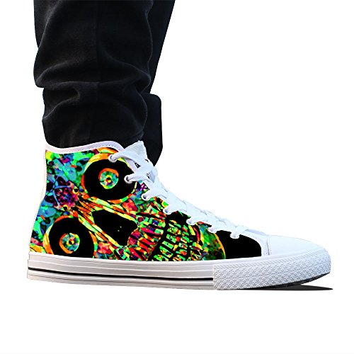 Canvas shoes, custom Stylish Colorful Skull High top mens white classic casual fashion canvas sneakers