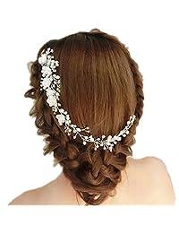 handmade hair comb floral headband women pearl jewelry hairband soft chain hair ornaments bridal tiara wedding accessories