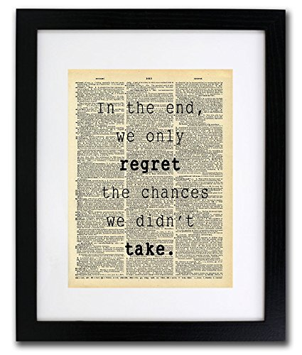Regret Chances We Didn't Take Quote Dictionary Art Print - Vintage Dictionary Print 8x10 inch Home Vintage Art Wall Art for Home Decor Wall Decorations For Living Room Bedroom Office Ready-to-Frame (Best Gifts For Business Owners)