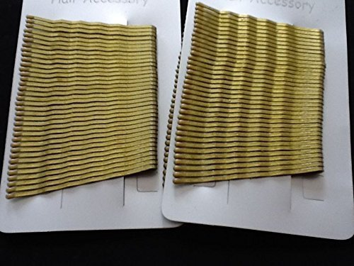 CARD OF 36 X 2 PACKS GOLD BLONDE KIRBY HAIR GRIPS SLIDES 4.5CM BOBBY PINS GRIPS