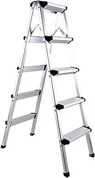 Taburete Plegable Escalera 5 Peldaños, Escalera De Dos Lados De Aluminio Plegable, Taburete De Peldaño Tipo A Plegable, Carga De 150 Kg (Color : Silver): Amazon.es: Bricolaje y herramientas