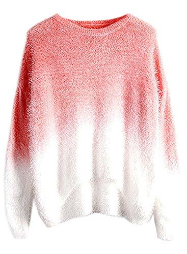 futurino Mohair de la mujer gradiente sudadera de manga larga jersey de cuello redondo para hombre high-low Pink