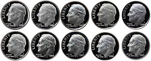 1980-1989 S Roosevelt Dimes Gem Proof Run 10 Coins US Mint Decade Lot Complete 1980's Set (Roosevelt Silver Dime Us Coin)