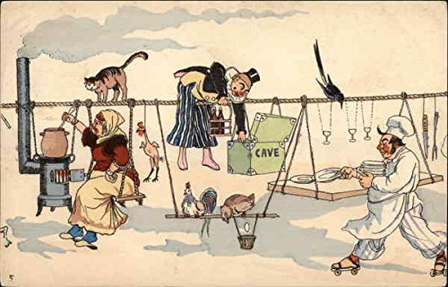 Surreal - People on Clothesline Art Original Vintage Postcard from CardCow Vintage Postcards