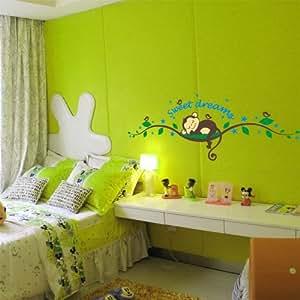 Sweet Dream Sleepy Little Monkey Rest on Tree Monkey Wall Stickers for Kid Nursery Wall Decal Online