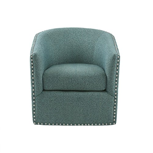 "Madison Park MP103-0706 Tyler Swivel Chair - Solid Wood, Plywood, Metal Base Accent Armchair Modern Classic Style Family Room Sofa Furniture, 28"" Wide, Teal"