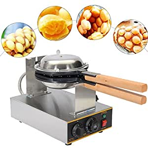 VEVOR Puffle Waffle Maker 110v Electric Egg Cake Oven QQ Egg Waffle Machine Stainless Steel with 30pcs Holes One Time for Restaurant Home Use Snack Food Processing (Black)