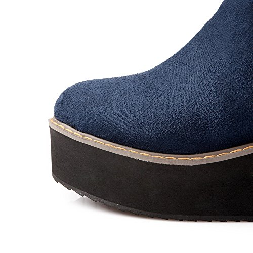 AllhqFashion Womens Round Closed Toe Kitten-Heels Frosted High-top Solid Boots Blue OfmUjVxdLE