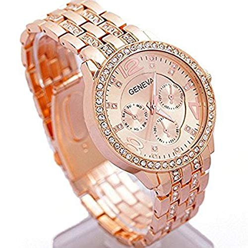 Happy Hours - Bling Unisex Bling Crystal Quartz Leisure Wrist Watch / Luxury Geneva Alloy Band Classic Round Leisure Watches with a Button Battery(Rose ()