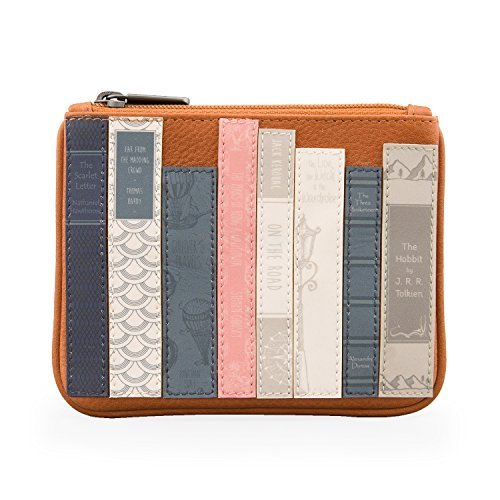 Bookworm Leather Zip Top Purse Wallet by Yoshi (Tan)