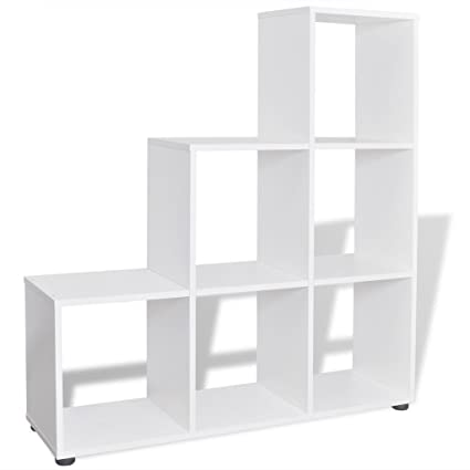 Staircase Shelf Room Divider Bookcase Display Rack, White