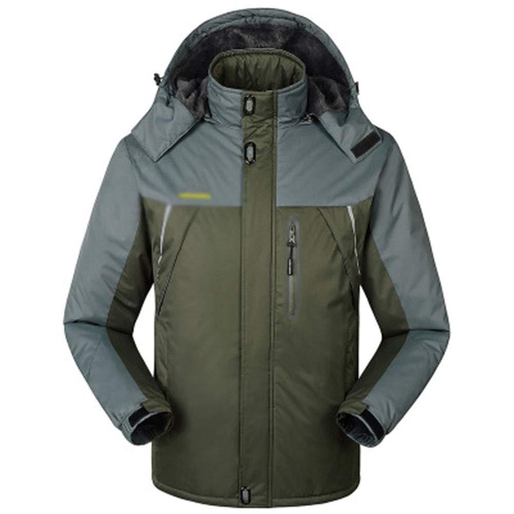 SHR-GCHAO Outdoor Sport Winterjacke Plus Samt Wasserdicht Wear-Resistant Breathable Männer Radfahren Ski Wandern Sport,Grün,3XL