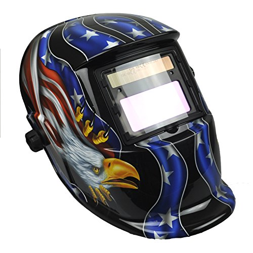 Instapark ADF Series GX-350S Solar Powered Auto Darkening Welding Helmet with Adjustable Shade Range #9 - #13(American Eagle)