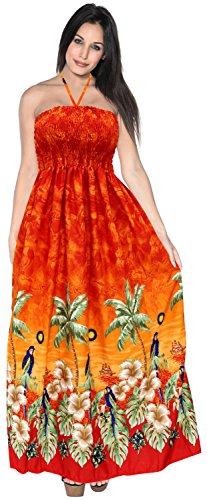 de Womens k263 LEELA vtements Maxi de Jupe Maillot Bain Le Plage LA Coverup Soir Orange Robe de Bretelles Tube dUXFUwx