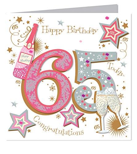 Large Luxury Handmade 65th Birthday Card