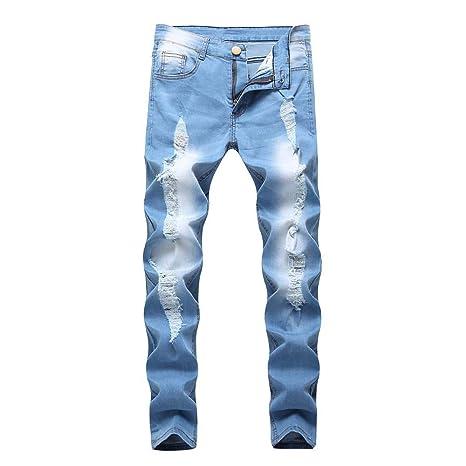 VECDY Hosen Herren Männer Slim Biker Zipper Denim Jeans Skinny Frayed Pants Distressed Rip Hose Destroyed Stretch Jeans-Hose