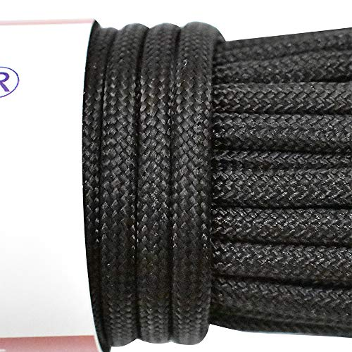 HomTop 550 Paracord 7 Strand Nylon Parachute Cord Outdoor Survival Rope – 100Feet Length 100% Nylon Mil-SPEC 550lbs Breaking Strength (Black)