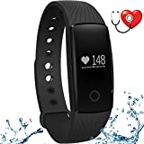 wonlex Fitness Tracker with Heart Rate Monitor,IP67 Waterproof Sports Pedometer Activity Tracker Smart Bracelet Watch for Women Men and Kids (Black)