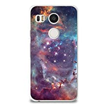 Nexus 5X Case, CasesByLorraine Galaxy Space Stardust Purple Sky Clear Transparent Case Slim Hard Plastic Back Cover for LG Google Nexus 5X (I20 Style 2)