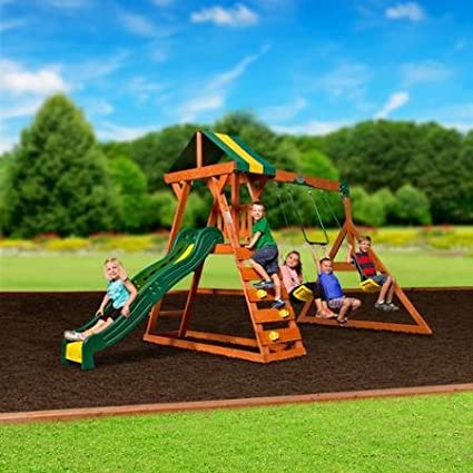 trapeze bar madison cedar swing set all wood hardware swings and slide as