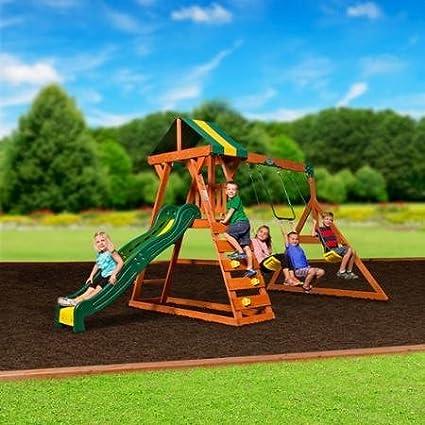 trapeze bar madison cedar swing set all wood hardware swings and slide as - Cedar Swing Sets