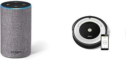 Echo gris oscuro + iRobot Roomba 691- Robot aspirador para suelos duros y alfombras, con tecnología