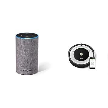Echo gris oscuro + iRobot Roomba 691- Robot aspirador para suelos duros y alfombras,