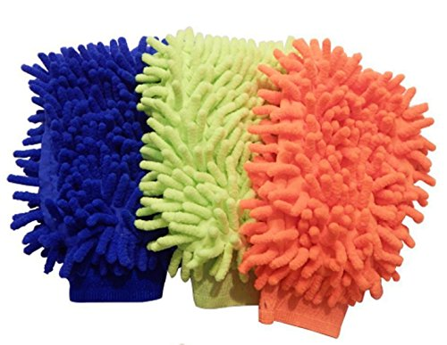(Microfiber House Cleaning and Car Wash Mitts - 3-pack - Double Sided Chenille Microfiber Glove - Dynamic Microfiber Cleaning Cloth Mitten Dusts, Washes, Cleans Your Home, Kitchen, Bathroom, Car)
