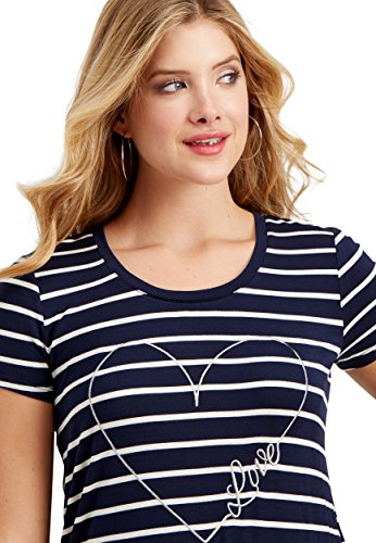 maurices Women's Striped Tee with Embroidered Heart Large Blue Jasmine (Striped Tee Heart)