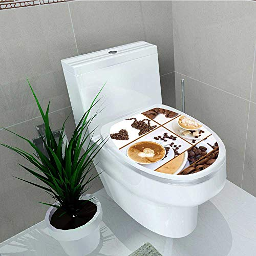 Analisa A. Houk Decal Wall Art Decor Themed Collage Beans Mugs Hot Foamy Drink a Heart Macro Aroma Brown White Bathroom Creative Toilet Cover Stickers W14 x L16 (Foamies Heart)