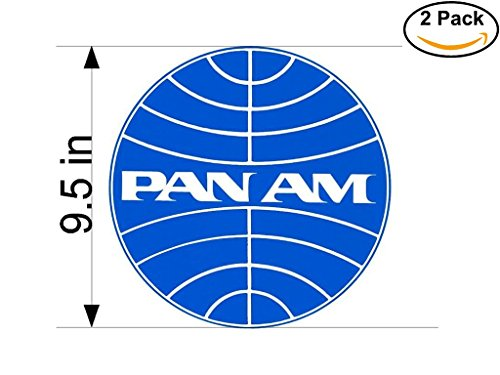 Pan Am Airlines Airplane Sticker Decal 2 Stickers Huge 9.5 Inches
