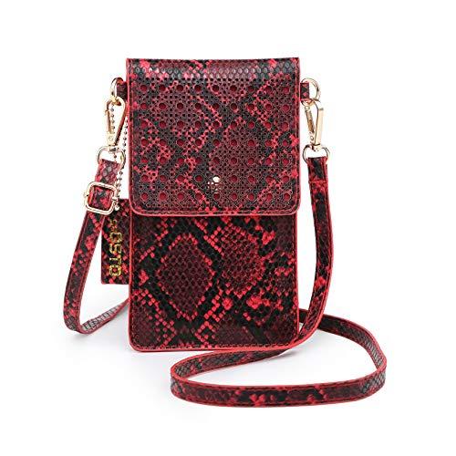 SeOSTO Handy Schultertasche, Kleine Tasche Umhängetasche für Damen Frauen (Rot)