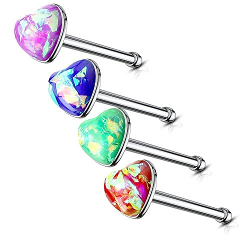MoBody 4-8 Piece Created Opal Heart Nose Ring Stud Set 20G Surgical Steel Stone Nose Bone Piercing Screws Value Pack (4 Piece Dark Colors)