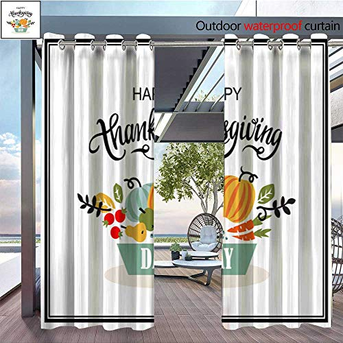 QianHe Outdoor Blackout Curtains Happy-Autumn-Card-with-Vegetables-Fruits-Berries-and-Leaves-Vector-Illustration-Frame-Banner-Poster-1.jpg Outdoor Privacy Porch Curtains W120 x L108(305cmx274cm)