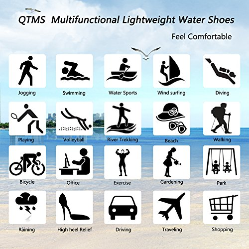 QTMS Damen Mens Lightweight Quick Dry Wasser Aqua Schuhe für Schwimmen, Wandern, Yoga, Strand, Park, Fahren, Surf Schwarz