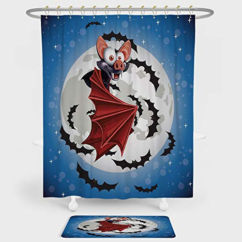 Vampire Shower Curtain And Floor Mat Combination Set Cute Funny Cartoon Bat Mascot Flying in Vibrant Night Sky Full Moon Stars Horror For decoration and daily use Multicolor (Sky Angle Night Neo)