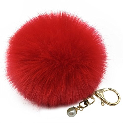 Amiley Fluffy Faux Rabbit Fur Ball Charm Pom Pom Car Keychain Handbag Key Ring (Red) (Rabbit Charm Red)