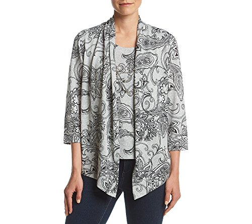 Alfred Dunner Print Sweater (Alfred Dunner Paisley Two-For-One Top Small)