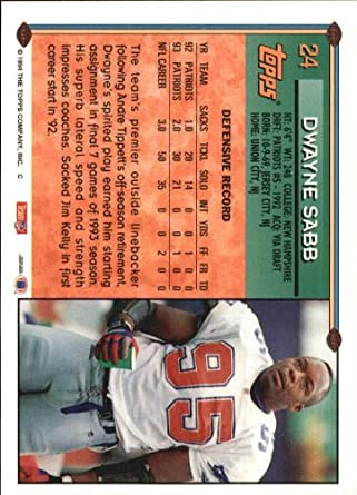 1994 Topps #24 Dwayne Sabb at Amazon's Sports Collectibles Store