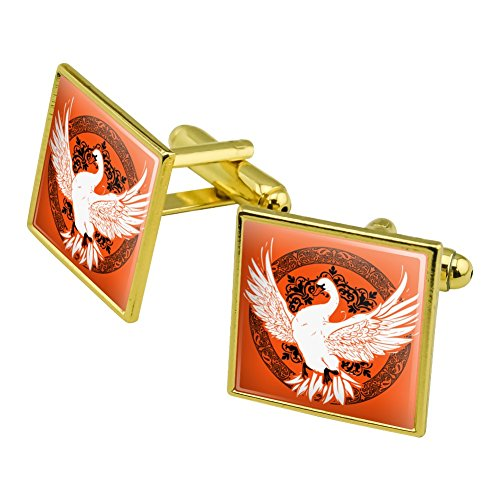 Graphics and More Swan on Fancy Floral Circle Square Cufflink Set Gold Color (Cufflinks Gold Circle)