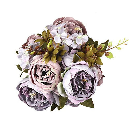 Artificial Peony Flower Bouquet for Wedding Purple - 5