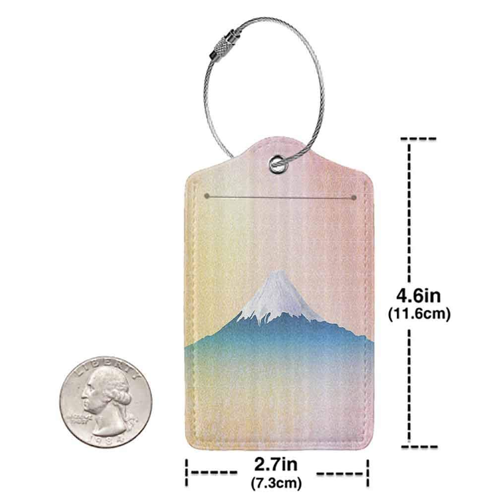 Modern luggage tag Landscape Fuji Cherry Tree Full Bloom Spring Theme Japanese Nature Snow Mountain Suitable for children and adults Light Pink Blue Peach W2.7 x L4.6