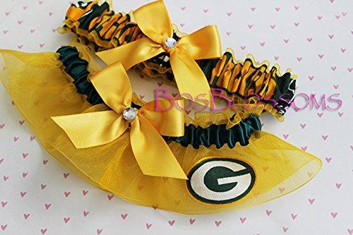 Customizable – Green Bay Packers green print fabric handmade into bridal prom gold organza wedding garter set with big golden bows