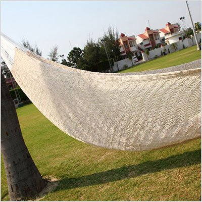 Amber Home Goods Mayan Double Hammock, White - Material Used: Thin cotton ropes and nylon on either side App Hanging Height (of the handles): Min 5 feet off the ground Space for Hanging: Min 13 feet (between the two handles) - patio-furniture, patio, hammocks - 51MZnmbTnoL. SS400  -